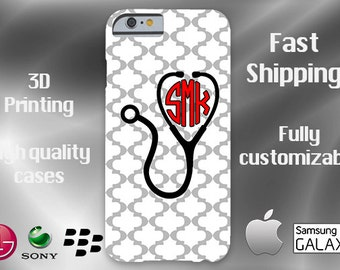Nurse Monogram Cell Phone Case, iPhone 6 case, Note 4 cell case, nurse phone case, iPhone 6 plus cell phone case, iPhone 6 plus, Nurse Gift