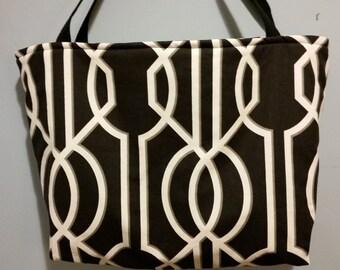 "14"" by 22"" Black/Cream Tote Bag"