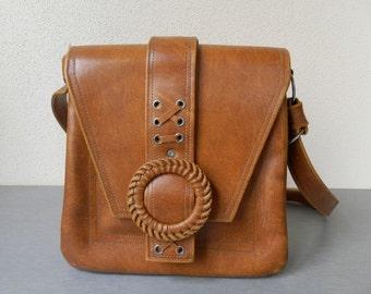 Vintage 1970s Leather Handbag / Shoulder Bag/ Vintage Ladies Leather Handbag / Ladies Handbag /Old Leather Purse Handbag / Brown Vintage Bag