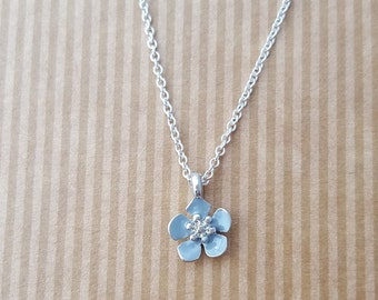 Dainty Gray Flower pendant necklace, Sterling silver necklace, pendant necklace