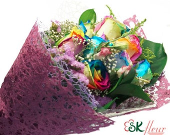 Special promotion - 9 stalks of rainbow rose bouquet