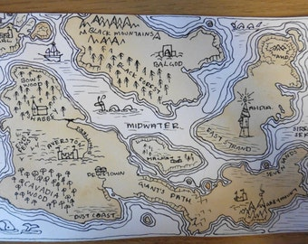 Tea and Ink Fantasy Hand Painted Map