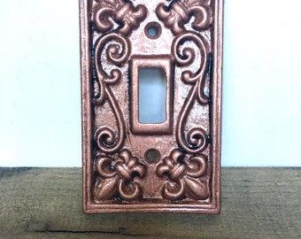 Metal Light Switch Cover - Rose Gold/  Pick Color - Shabby Chic Switch Plate - Rose Gold Wall Decor - Cast Iron Switch Plate - Fleur de Lis