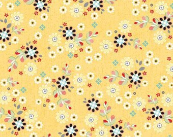 Yellow Patched Flowers, 1 yard, from the You & Me collection from Adornit