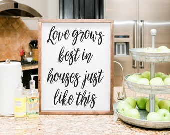 Love grows best in houses just like this sign, love grows best sign, framed wood sign, housewarming gift, home decor, wall decor wooden sign
