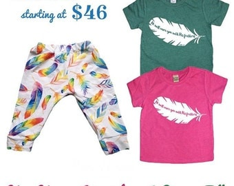 Feathers Collaboration t shirt/leggings set