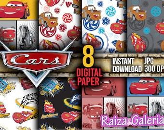 AWESOME Disney Cars Digital Paper. Instant Download - Scrapbooking - Pixar Cars Printable Paper Craft!