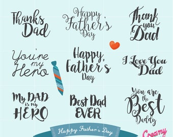 Happy Father's Day Digital Vector Clip art / Fathers Day Clipart Design Illustration / Dad, Gift, Typography, Quote, Wishes, Message, Card