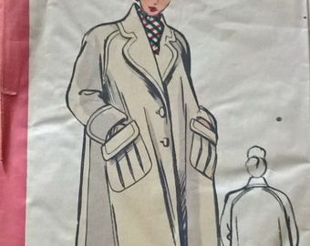 "Fabulous 50's french vintage sewing pattern - ""Patrons Marie Claire"" 4536 Coat woman size 44  / size 16"