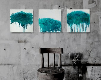 Original Fine Art Abstract, Contemporary Wall Art,Modern Art, Modern Art Painting,Boho Painting,turquoise abstract, Set of 3,