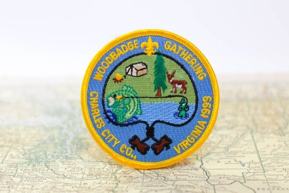 Vintage boy scout patch woodbadge gathering fishing charles for Fishing merit badge