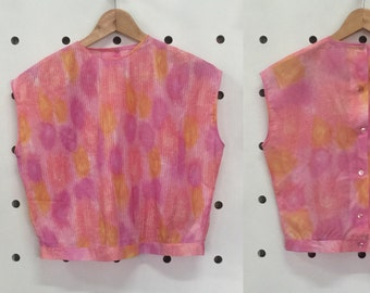 60's Floral Pleated Top