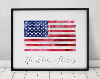 United States of America flag print, American flag poster, watercolor, Wall art, USA flag, office decor, Home Decor, Gift, ArtPrintsVicky