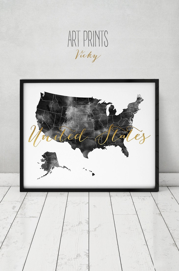 United States Travel Map US Map Poster United States Print - Us travel map poster
