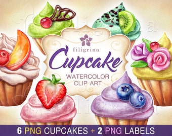 CUPCAKE watercolor Clip Art. Assorted dessert, sweet cake, birthday party invitation set, food illustration, labels, confectionery. 8 PNG