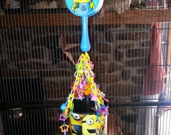Minion Hanging Sugar Glider Toy - hide away cup, foraging cup, also for rats, ferrets, parrots, birds, & more