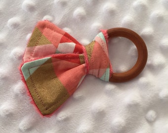 Coral Aztec Bunny Ear Teething Ring