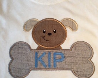Applique Puppy with Name Kids' T-Shirt