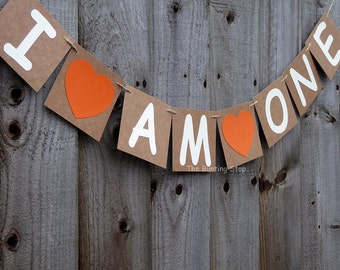 I am one bunting, baby's first birthday, autumn birthday decor, cake smash photo prop