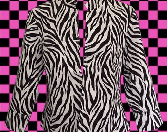 Zebra Print Jacket • Cropped Jacket • Mandarin Collar • 3/4 Sleeve • Rocker Style Jacket • Animal Print Jacket • Perfect Accent Piece!