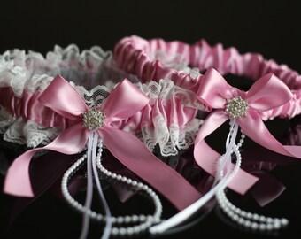 Dusty Pink Bridal Garter Set \ Pink Wedding Garter Set \ Pink Toss Garter \ Pink Keepsake Garter \ Lace Wedding Garters \ Pink Prom Garters