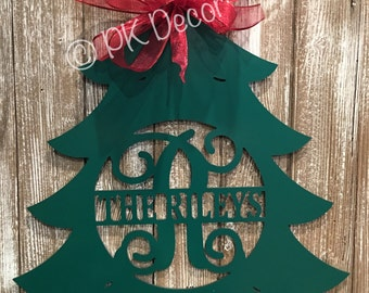 "Labor Day Sale - Monogram  24"" Metal  Personalized Christmas Tree Door Decor - Circle w/ Last Name In Middle"