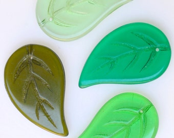 Large Flat Leaf Bead with Top Hole - Czech Glass Leaf Beads - Leaf Pendant Bead - 34mm x 22mm - Various Colors - Qty 4