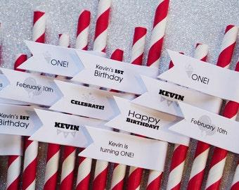 Birthday Party Supplies / 100 Birthday Party Straws / Party Decorations / Paper Straws / Party Straws / Birthday Straws / Custom Straw Tags