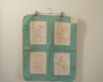 Vintage small quilt wall hanging / flower planters hand embroidered quilt