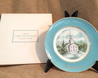 "Avon 1974 Christmas Plate ""Country Church"""