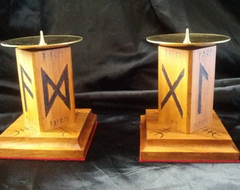 Pair of Runic Candle Holders