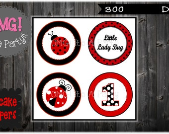 Ladybug Cupcake Toppers, Ladybug Toppers, Ladybug Party Printables