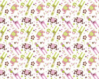 Best Friends Elephants and Giraffes Fabric From Springs Creative