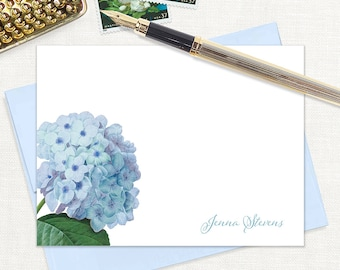 personalized flat note cards - BLUE HYDRANGEA - set of 12 cards - stationery - stationary - flower - botanical - floral - blue envelopes