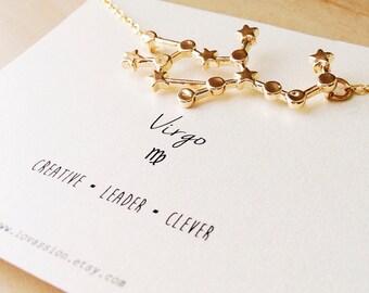 Virgo Necklace, virgo constellation necklace, gold virgo necklace, gold virgo constellation necklace, star sign, zodiac jewelry, 14k