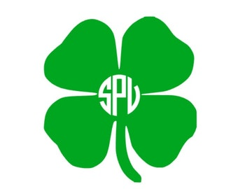 Four Leaf Clover Monogrammed Decal, Four Leaf Clover Decal, Clover Decal, Monogrammed Clover, Shamrock decal, Laptop Decal, Ipad Decal