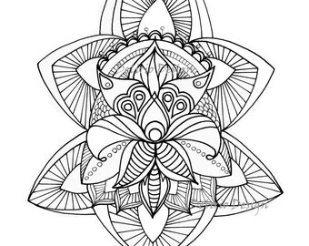 Boho Persian Flower coloring pages for adults. Hand Drawn Adult Coloring Page Print. Download
