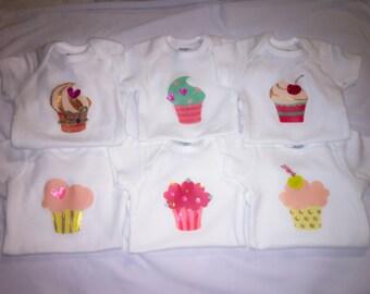 Cupcake 6 pk Onesie Set