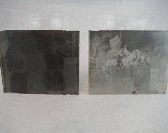 2 1916 Glass Photo Negatives - Vintage Negatives - Glass Negatives - Vintage Negatives - Vintage Children Photography -