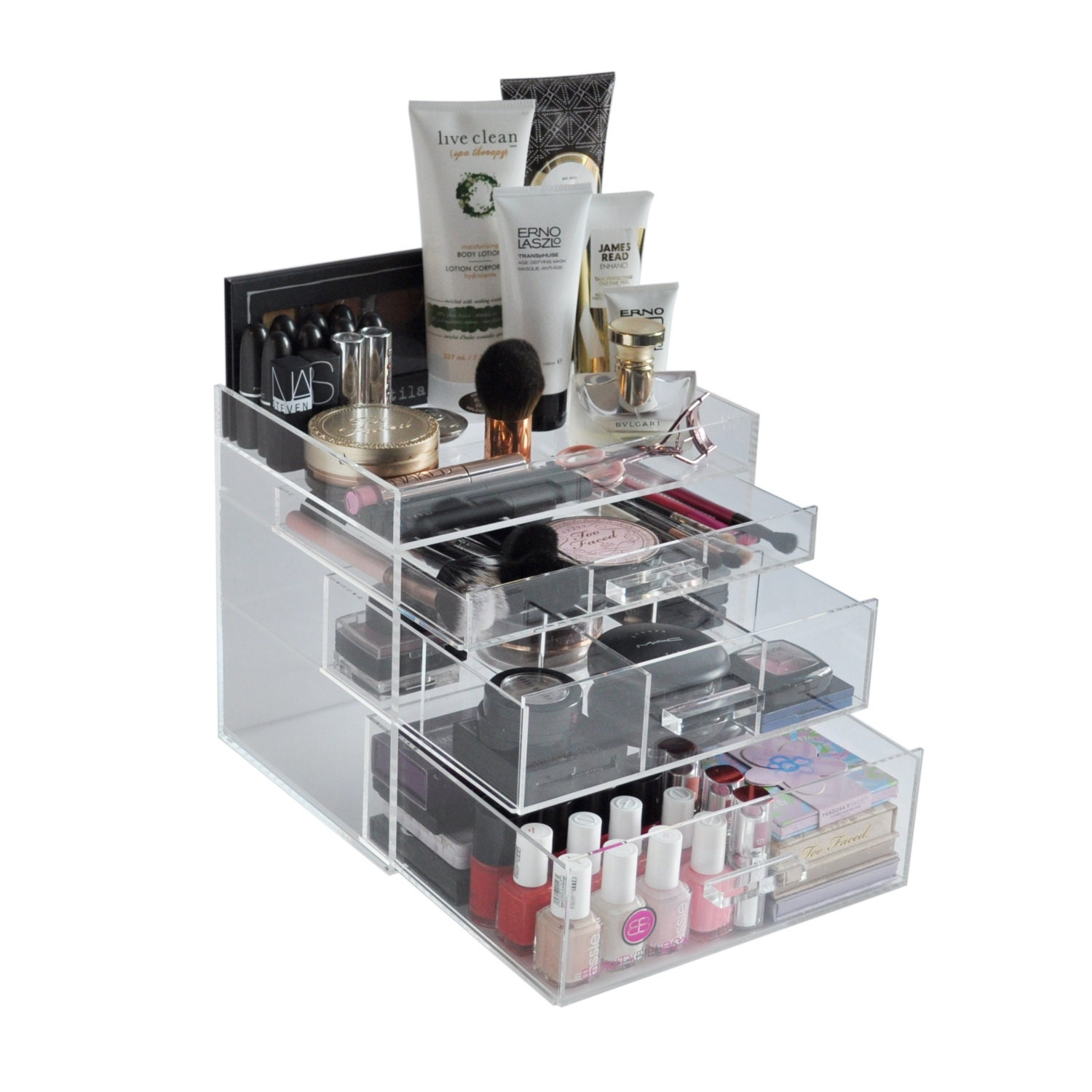 clear acrylic makeup organizer chicbox vanity cosmetic storage. Black Bedroom Furniture Sets. Home Design Ideas