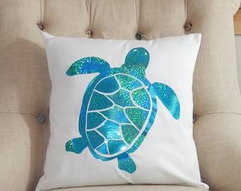 Sea Turtle Pillow Cover - Sea Turtle Pillow - Turtle Pillow - Beach Decor - Nautical Pillow - Sea Life Pillow - Coastal - Throw Pillow