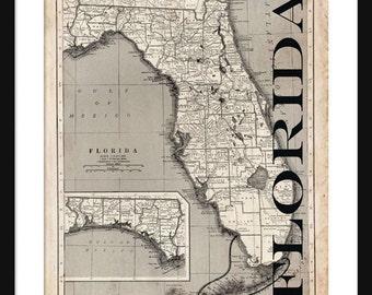 Florida Map - Map of Florida - Poster - Print- Sepia