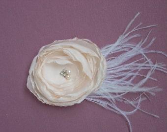 Wedding hair flower, Bridal hair flower, Wedding headpiece, Blush Peach Hair flower, Bridal hair accessories, Flower hair pin