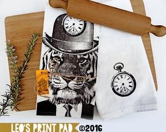 Hand screen printed 'Tick Tick Tiger' Linen Tea Towel