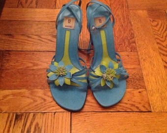 Turquoise Strappy Flower Sandal