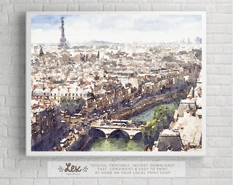 France, Paris Overview Cityscape Skyline - Aquarelle Watercolor Painting Digital Wall Art Instant Download