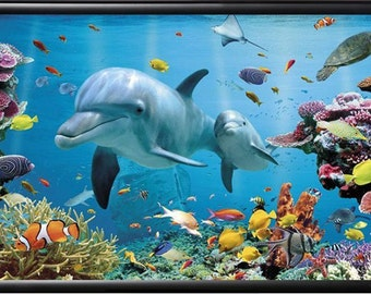 Framed Dolphins Sea Ocean Poster Art 24x36 inches, Framed w/ Premium Wood, Dolphin Coral Reef, Fish art poster, Wall Decor Ocean