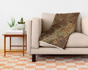 Central Park 1947 Throw blanket, Beautiful Antique map, 51x60 in, 68x80 in or 88x104 in. Really soft throw blanket. Gift for men