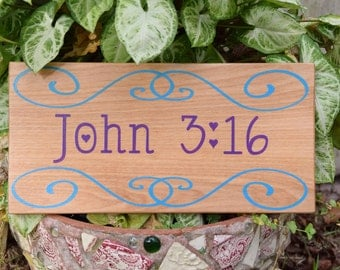 ANY Bible VERSE - Solid Wood, Hand Painted 1-sided Sign. Custom Made - Choices Available
