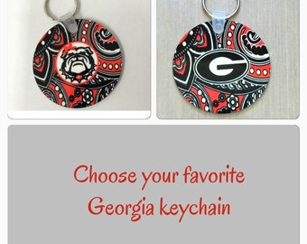 Georgia Bulldogs key chain Georgia bulldogs paisley keychain UGA paisley keychain university of Georgia paisley key chain